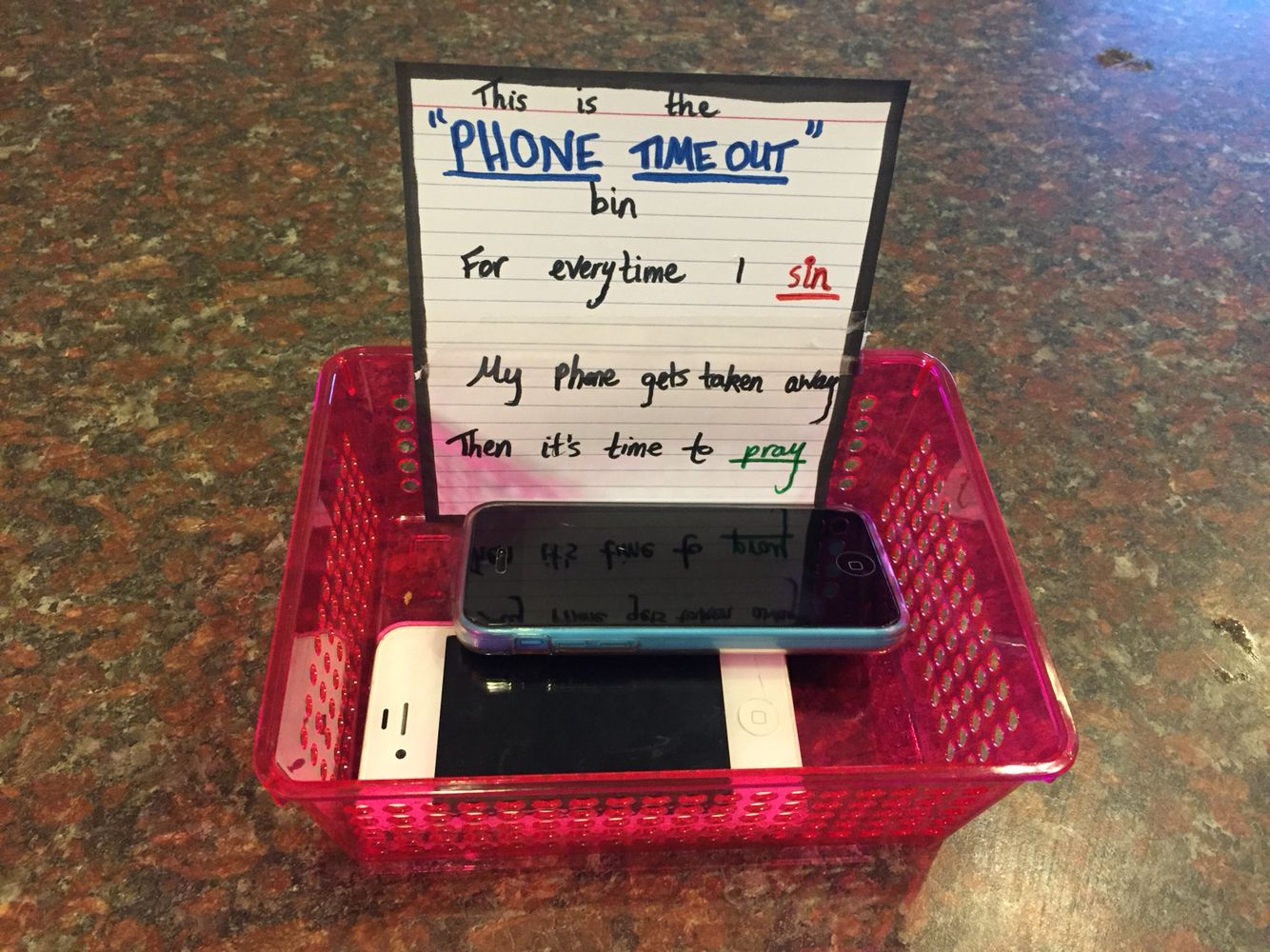 Cell phone time out bin for the boys...heehee