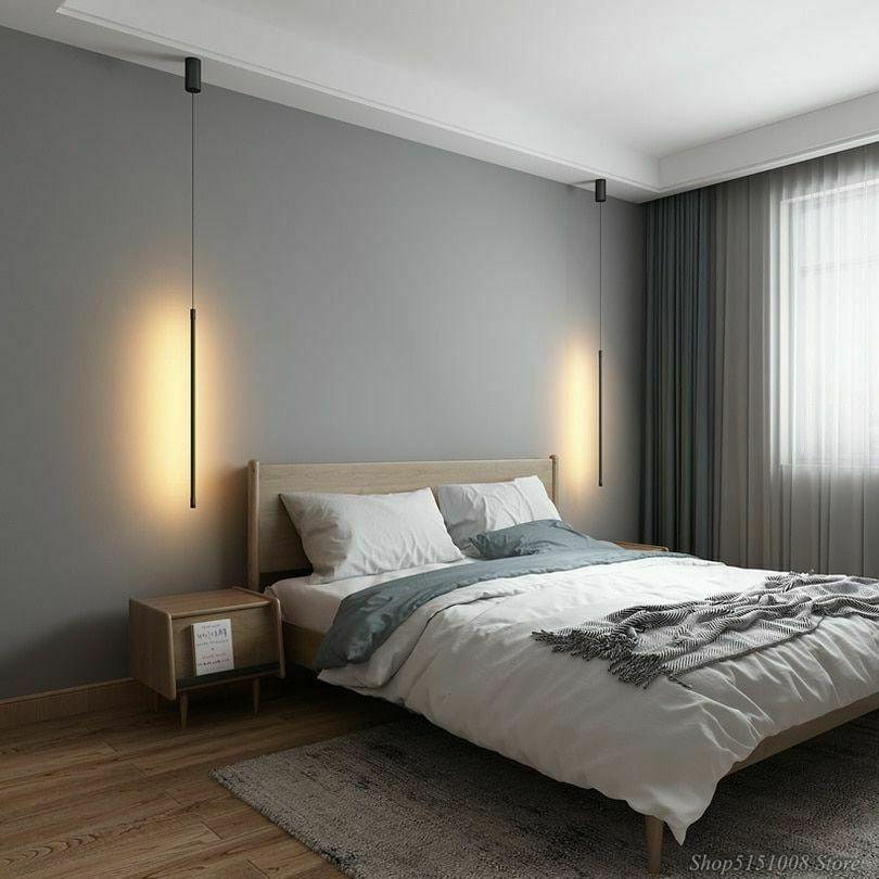 Minimalist Bedroom Bedside Pendant Led Lamp Modern Light Decor Next To The Sofa In 2020 Minimalist Bedroom Bedroom Interior Bedroom Lamps