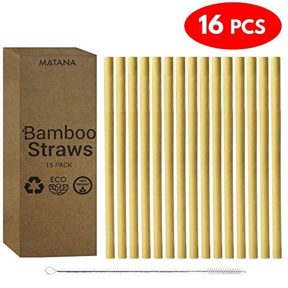 Cannucce Di Bamb.16 Pack 15 Cannucce Di Bambu Riutilizzabili 1 Pennello Di