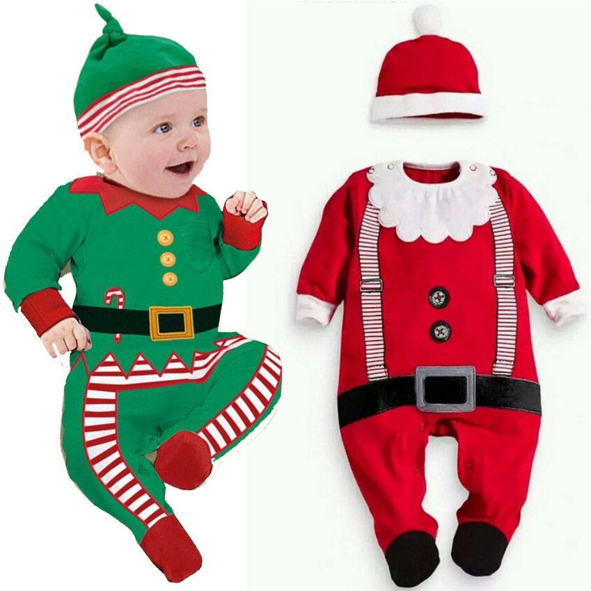 40c78011977c Baby Christmas Clothes Outfits Boy Girl Kids Romper Hat Cap Set Gift ...