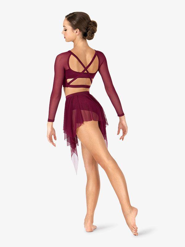 Adult Long Sleeve X-Back Dance Crop Top