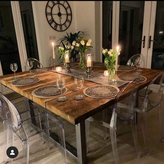 Reclaimed Industrial 10 12 Seater Solid Wood Metal Dining Etsy In 2020 Large Square Dining Table Wood Dining Room Table Dining Room Industrial