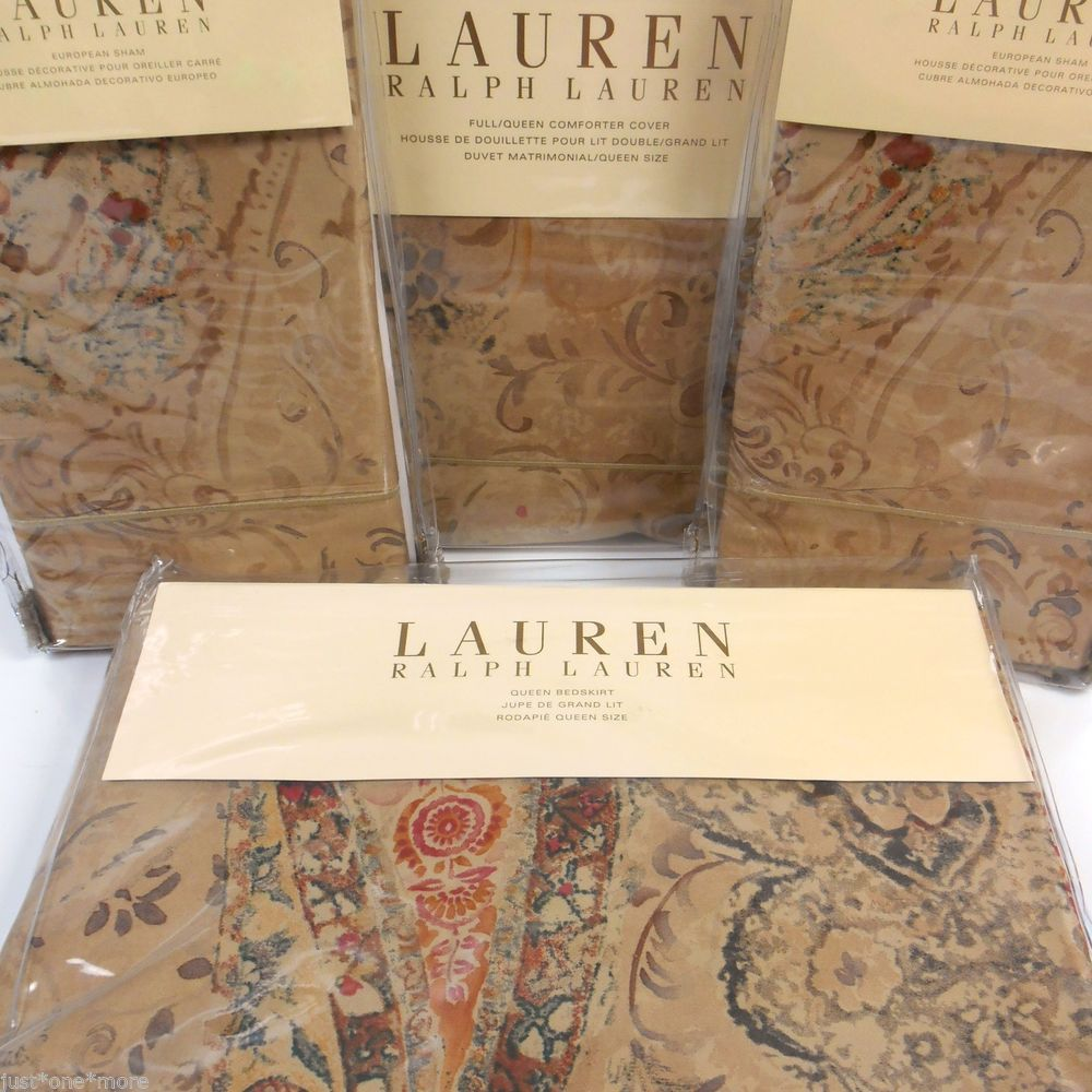 Ralph Lauren Verdonnet Queen Duvet Cover 4pc Set Euro Shams