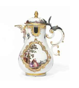A MEISSEN SILVER-MOUNTED BALUSTER MUSTARD-POT AND COVER