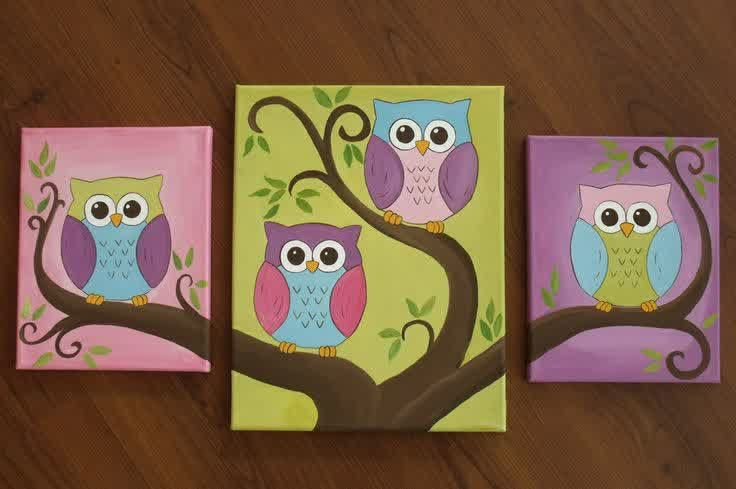 Decoration A Wonderful And Unique Art On The Cute Canvas Paintings Owl Pictures And Wonderful Art Ideas For Paint Owl Canvas Painting Owl Painting Owl Canvas