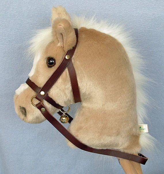 Caballo de la man a caballo de palo tela de piel de la felpa de palomino calidad superior con - Cabezas animales tela ...