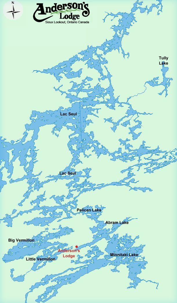 Lac Seul Canada Map Lake Maps | Lake map, Ontario map, Lake