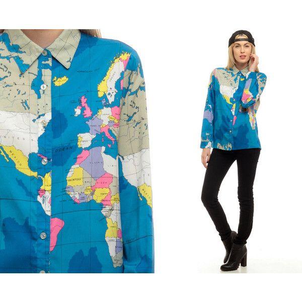World Map Button Down Shirt.World Map Shirt 80s Ussr Button Up Shirt Grunge Travel Blouse Bright