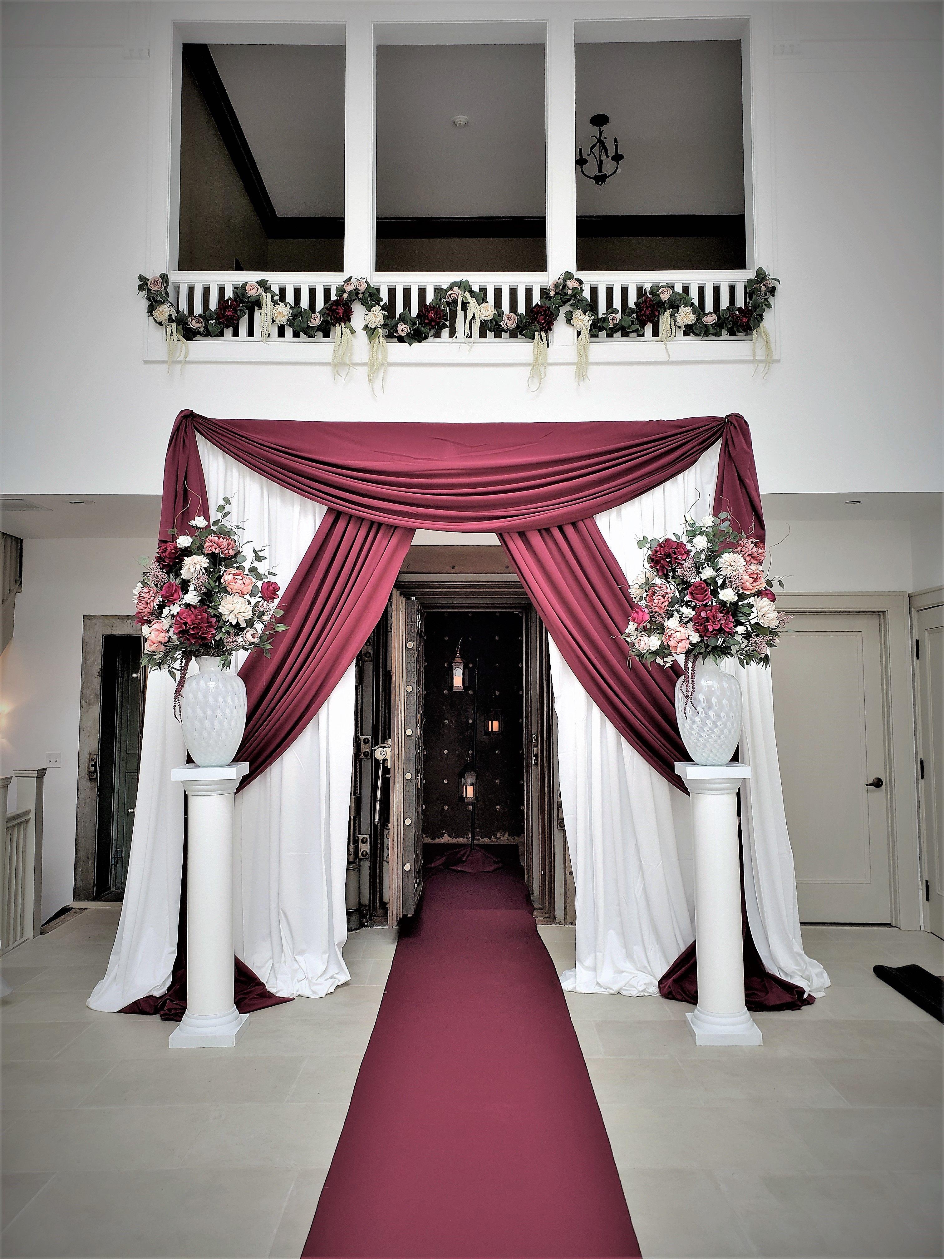 Burgundy And White Ceremony Backdrop Burgundy Wedding Burgundy Wedding Dress Pink And Burgundy Wedding
