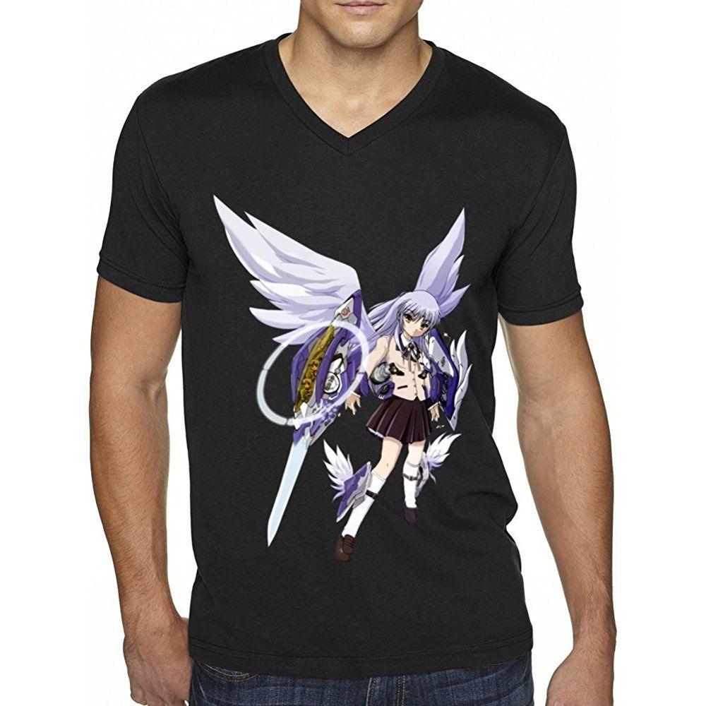 Angel beats anime logo mens black short sleeve t shirt