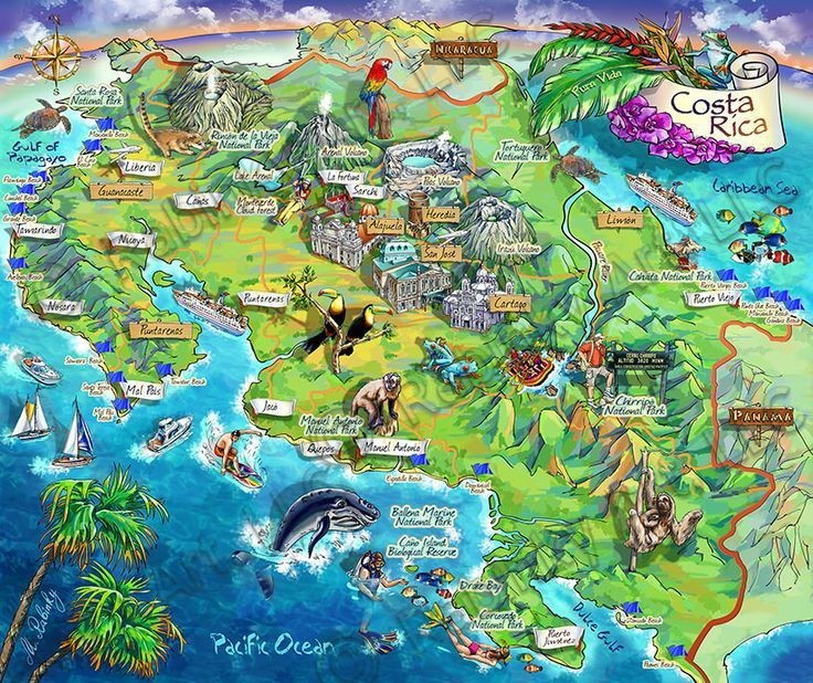 Costa Rica Attractions Costa Rica Illustrated Map By