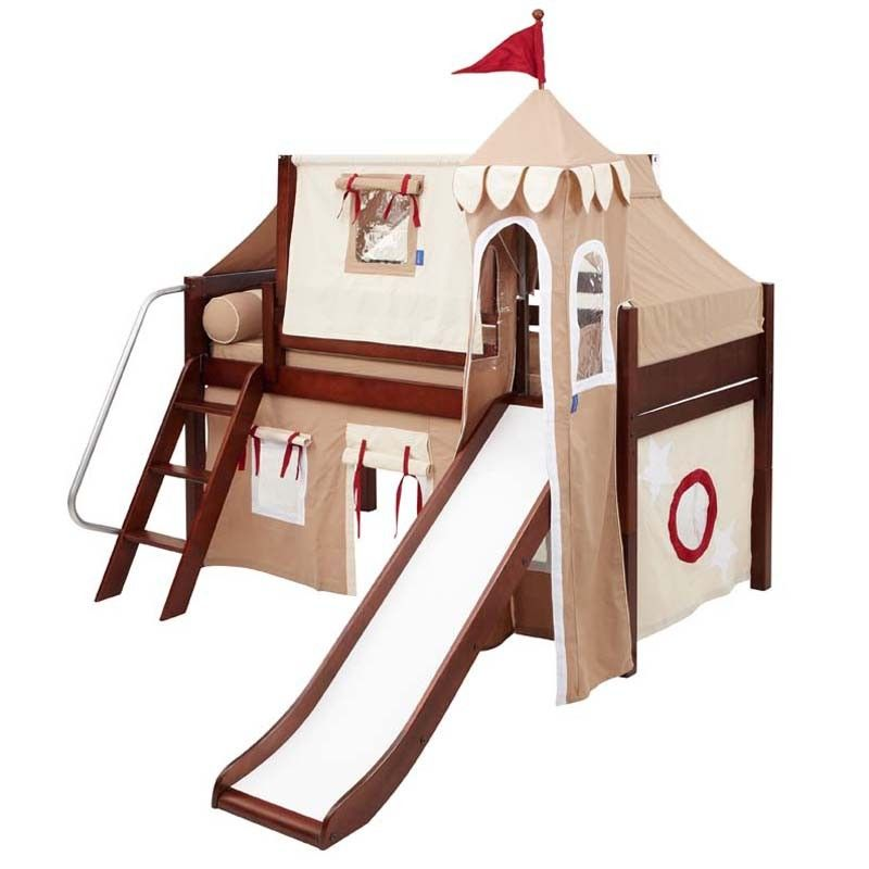 Skylar Low Loft Bed With Khaki Castle Tent With Images Bed