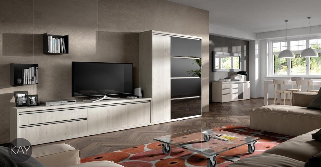 Salón comedor con muebles de diseño moderno para guardar una gran ...