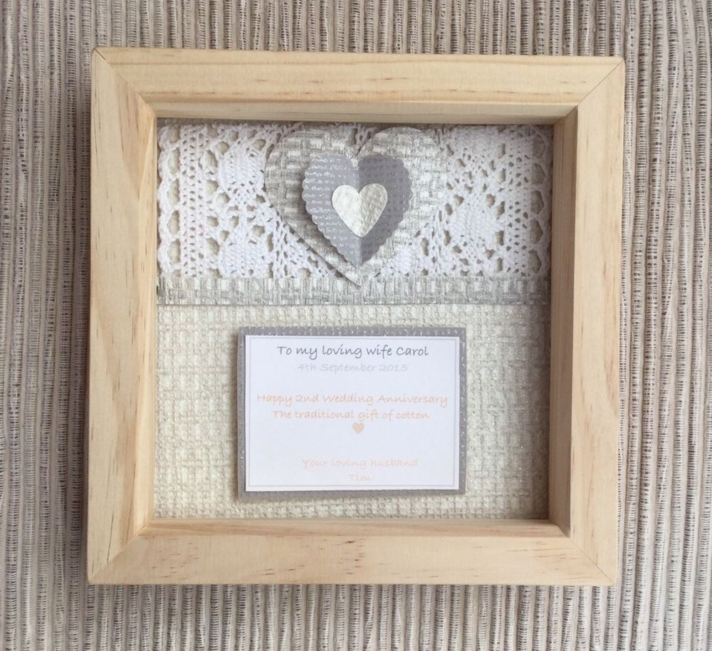 Personalised 2nd Wedding Anniversary Traditional Gift Of Cotton 3d
