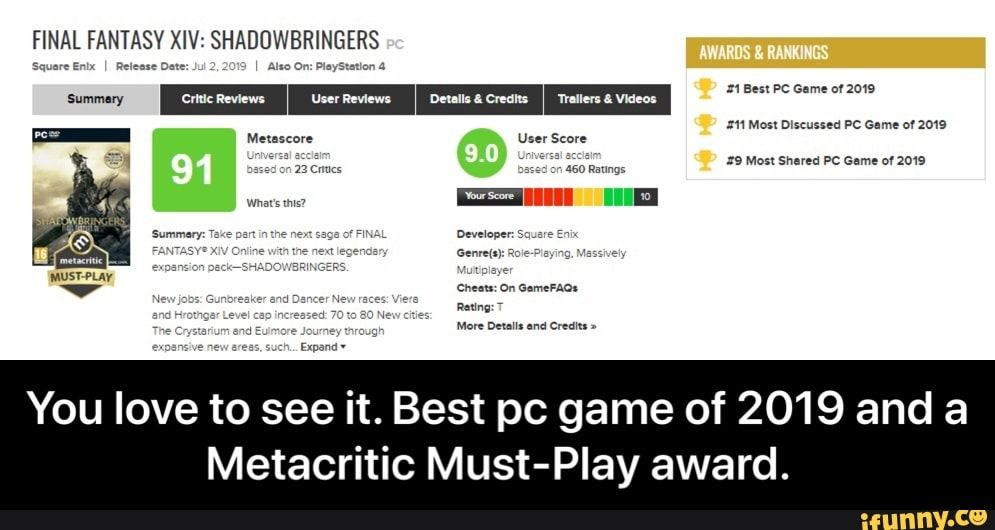 Final Fantasy Xiv Shaduwbringers Pc Game Of 2019 And A Metacritic