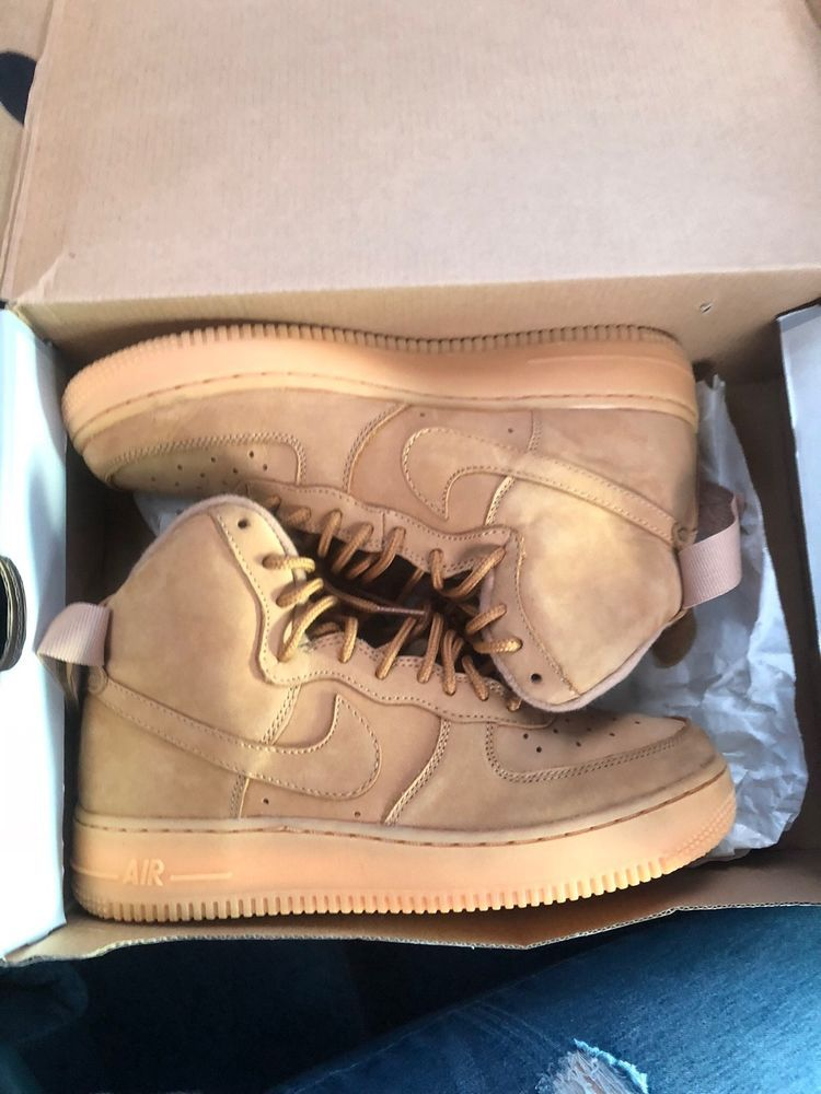 new concept cf6e9 a62af 100% AUTHENTIC NIKE AIR FORCE 1 HIGH  07 LV8 SZ 10 FLAX WHEAT 806403