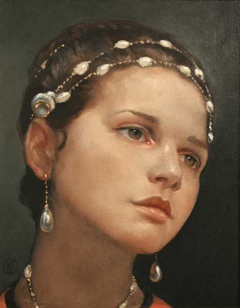 Girl with Beads by Ken Hamilton (b.1956) at Morgan O'Driscoll Art Auctions