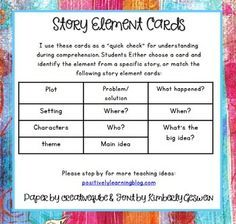 Free Story Elements - Check for understanding during read alouds and Guided Reading using this colorful visual! Positively Learning