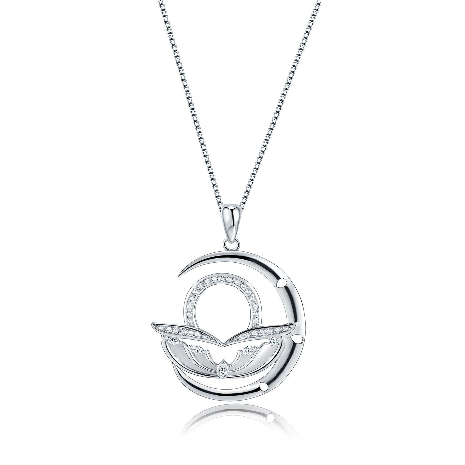 Moon horoscope signs of zodiac pendant necklace with cubic zirconia