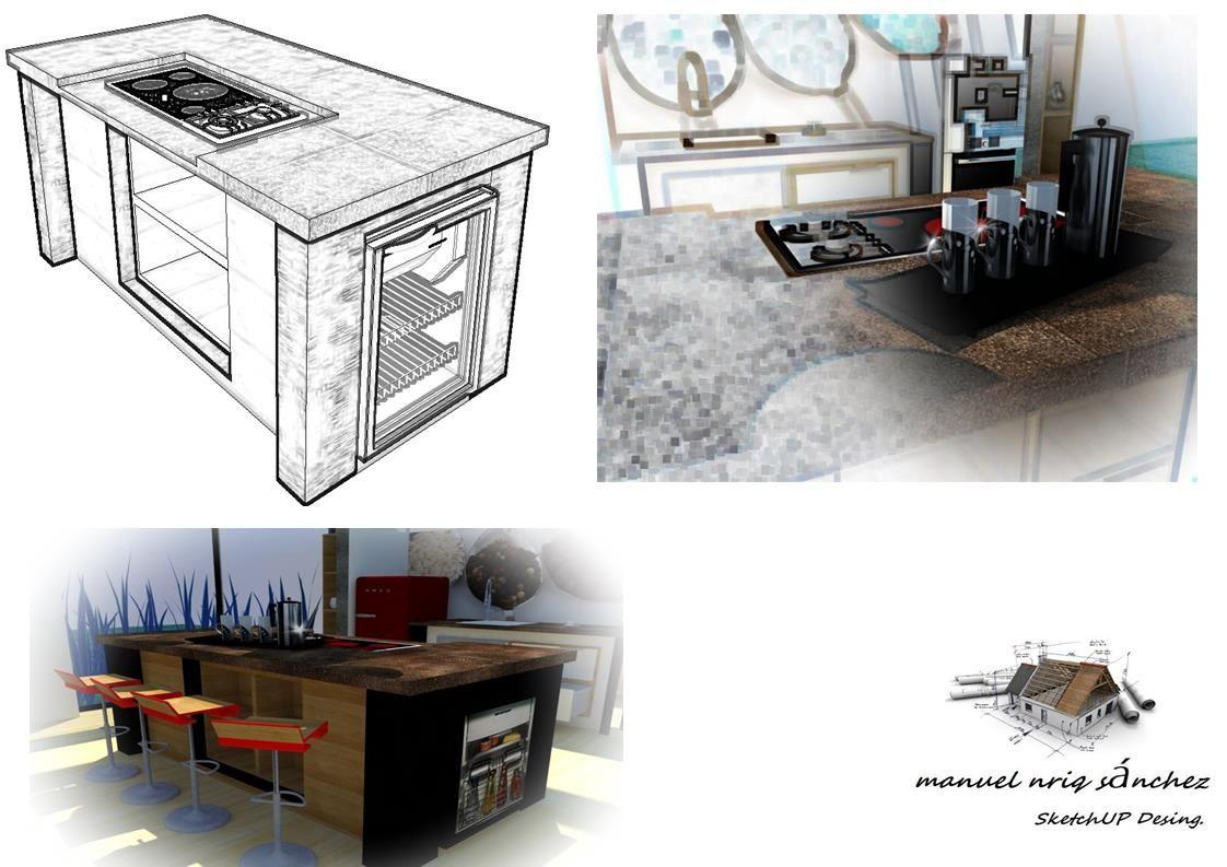 Isla de cocina. Dibujo. Diseño en Sketchup + Photoscape +V ray + ...