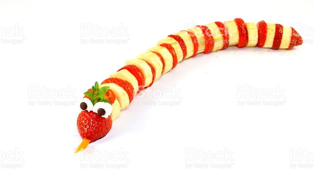 Strawberry-banana-snake royalty-free stock photo