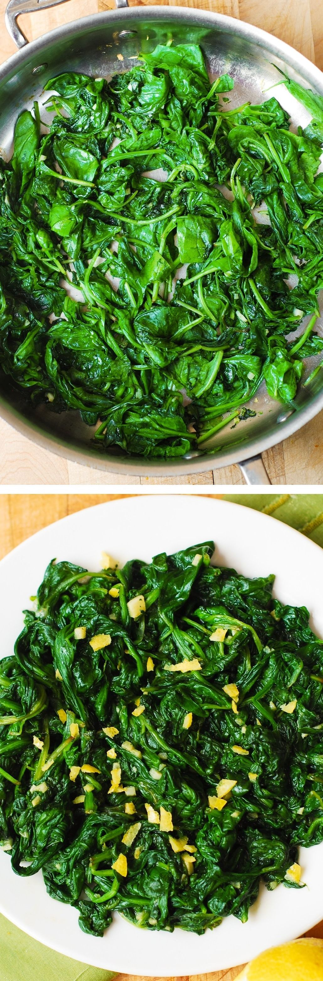 Best cooked spinach, with garlic, freshly squeezed lemon juice, and topped with lemon zest (peel)! Tasty, quick, healthy, and beautiful side dish! Goes great with pasta, grilled meats, steak, and chicken. It's very easy to make, inexpensive, paleo, vegetarian, vegan, and gluten free!