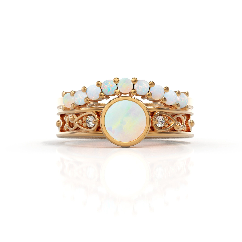 14k rose gold Bridal Sets Opal engagement ring opal and