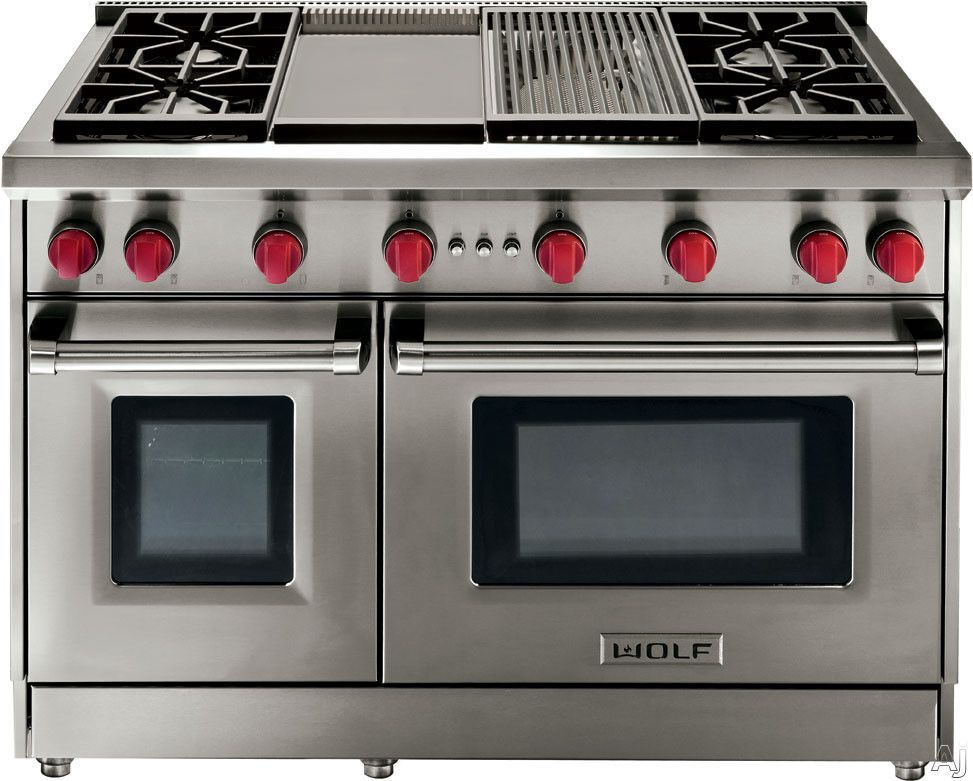 Wolf Pro Style Gas Range With 6 Dual Stacked Sealed Burners, Griddle, Cu.  Convection Large Oven, Infrared Broiler, Red Control Knobs And Island Trim:  ...