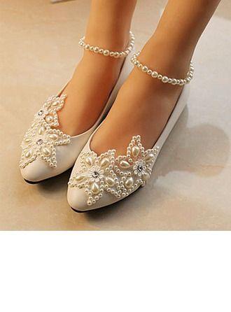 ce9e8286a67e0e Women s Closed Toe Pumps Cone Heel Patent Leather Imitation Pearl Rhinestone  Stitching Lace No Wedding Shoes