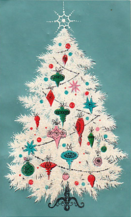 vintage christmas tree print - Vintage Christmas Decorations 1950s