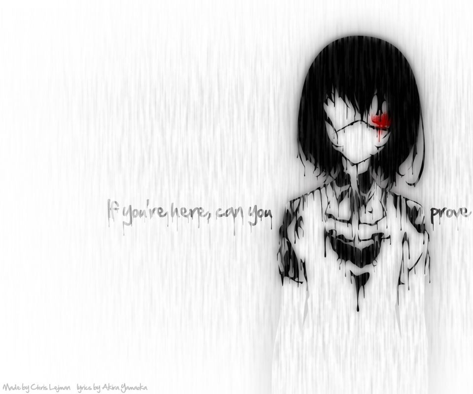Saying Quotes About Sadness: Rain Blood Quotes Eyepatch Typography Anime Anime Girls