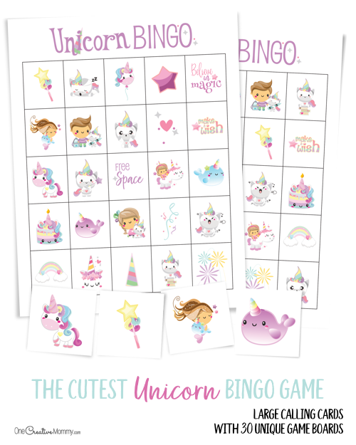 Free Unicorn Bingo Game - Bingo for kids, Unicorn games, Bingo, Spy birthday parties, Bingo games, Unicorn birthday - Unicorn bingo is such a fun idea for a kids birthday party! Get the free game here, and let the unicorn party fun begin! Free printables
