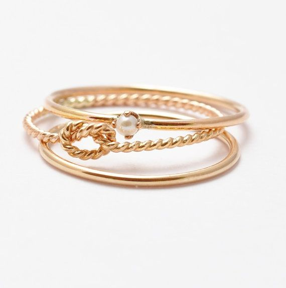 Stack Set Pearl Ring Knot Ring 3 Thread of Gold Wire Wrapped Stacking Set Simple Knuckle Stack Stacking Rings Gold Plated 14K Gold Filled