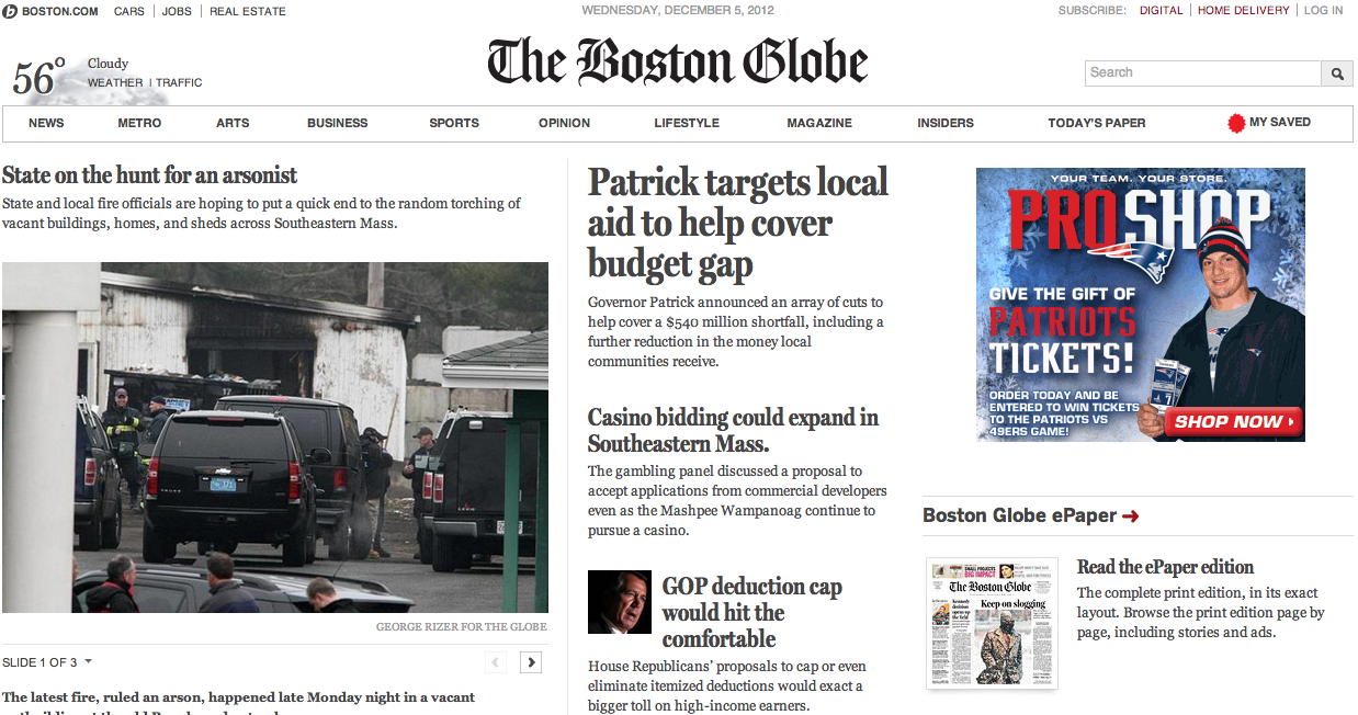 The Boston Globe is a great example of a responsive web design website with three major break points for small, medium and big.