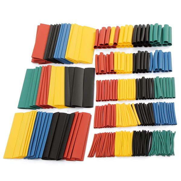 328 Pcs 5 Colors 8 Sizes Assorted 2:1 Heat Shrink Tubing Wrap Sleeve Kit top