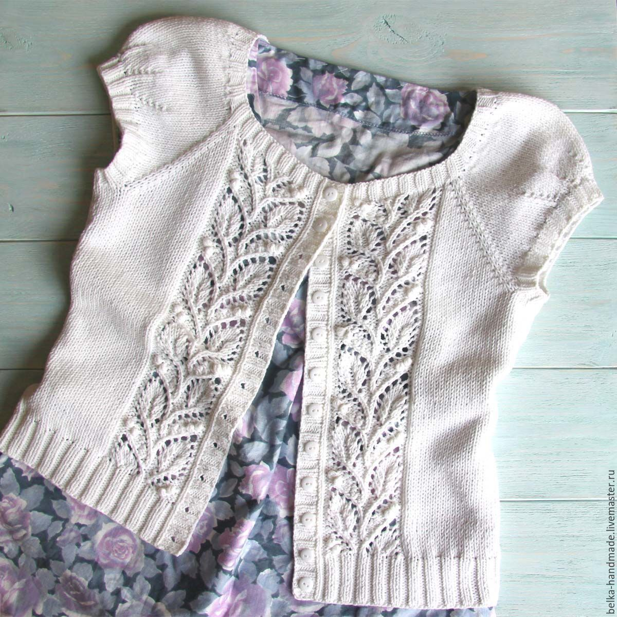 Купить Leafy summer cardigan (описание) - белый, кардиган, кардиган ...