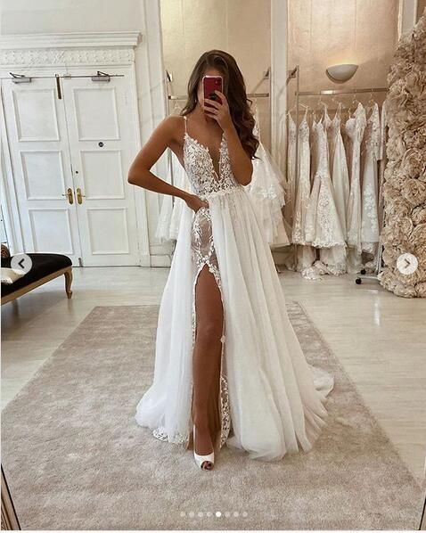 Simple A Line Tulle Wedding Dresses Spaghetti Straps Lace Side Slit Boho Wedding Dress from ...