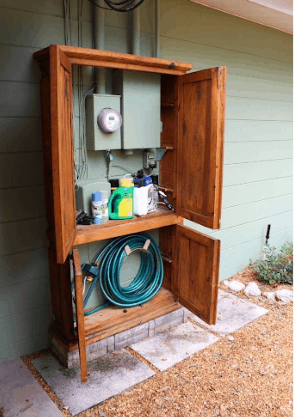 Great Way To Cover Up Those Electrical Boxes Armoire Makeover Home Diy Backyard Projects