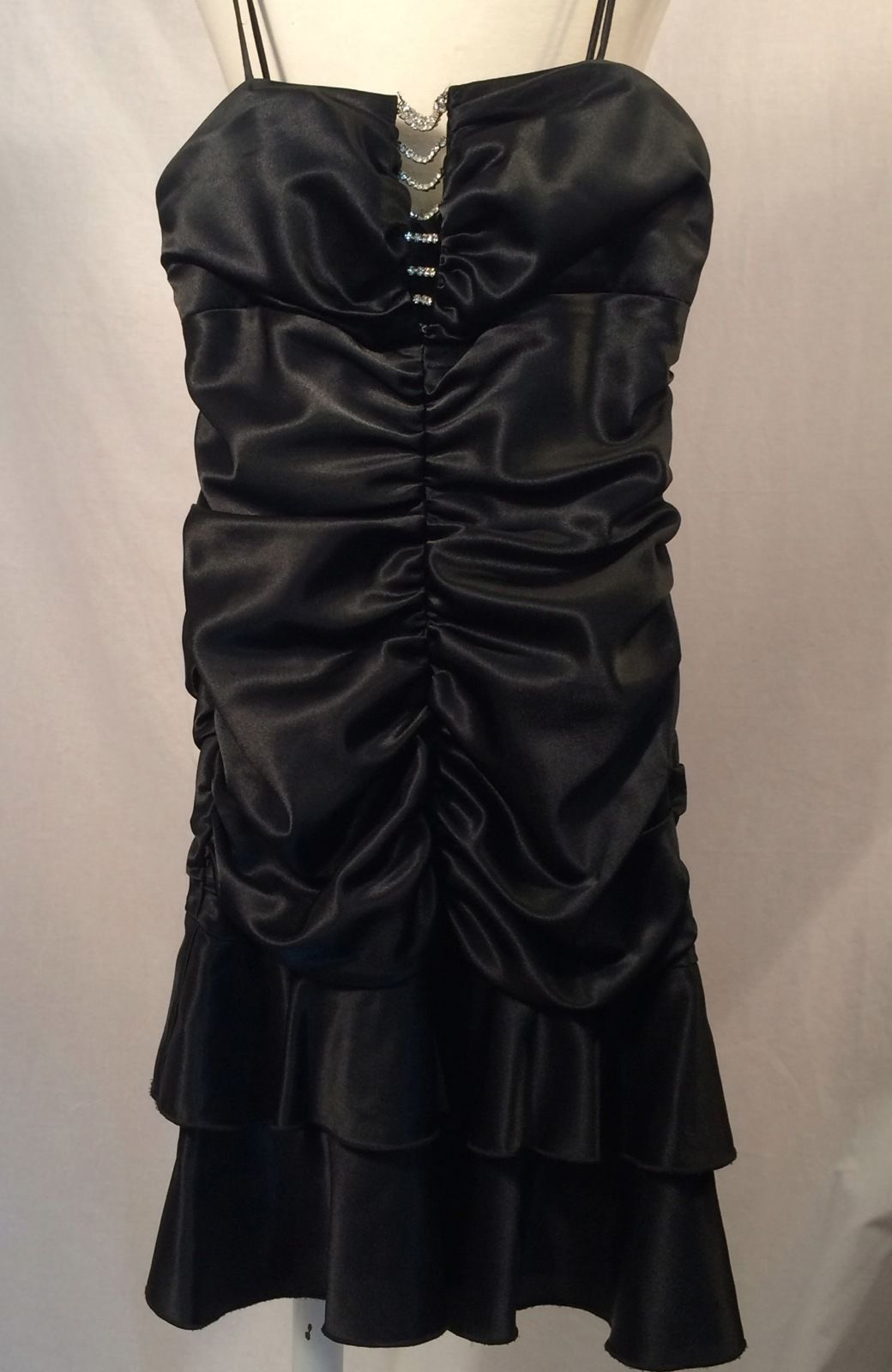 Nice great roberta black satin rhinstone embellished spaghetti strap