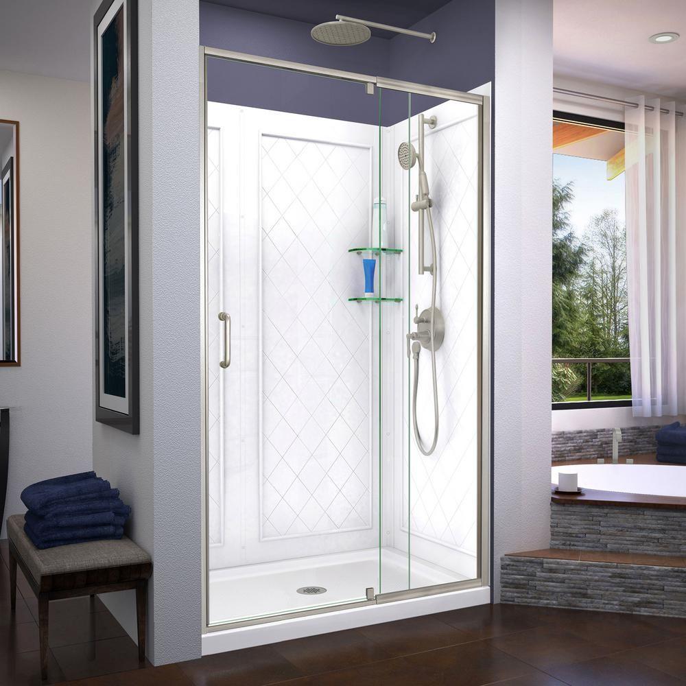 Dreamline Flex 48 In X 72 In Semi Frameless Pivot Shower Door In