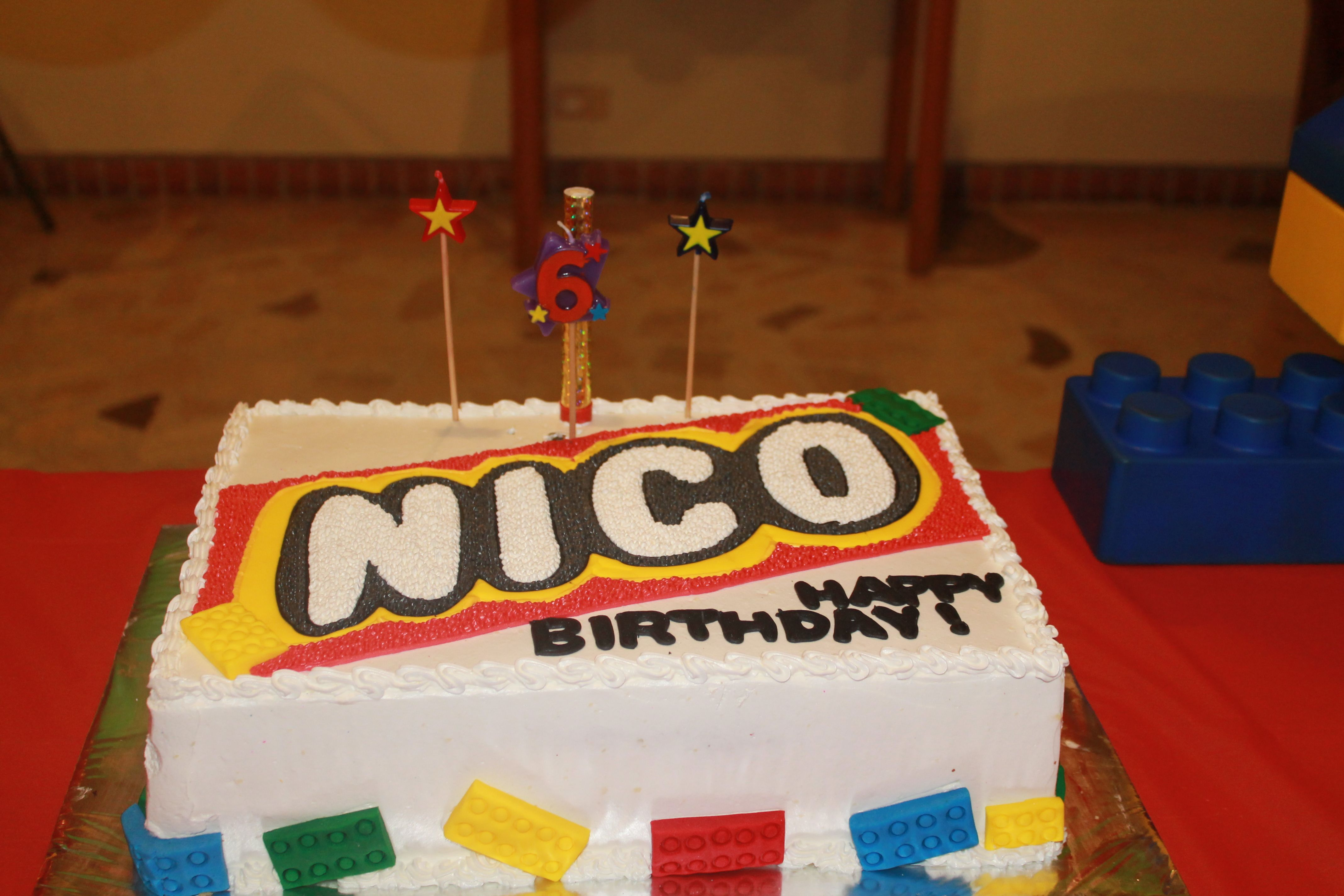 Lego Cake. Downloaded Lego letters