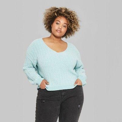 """9e46de4d04c67 Women s Plus Size Long Sleeve V-Neck Chenille Pullover - Wild Fableâ"""" 201X"""