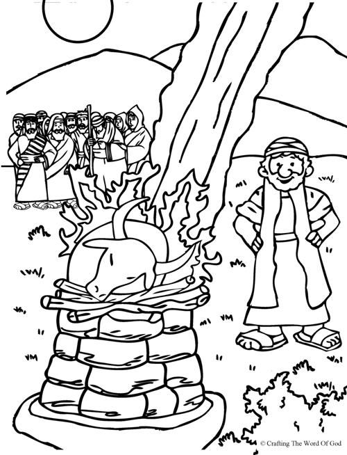 elijah and the prophets of baal coloring page from crafting the word of god - Elijah Bible Story Coloring Pages