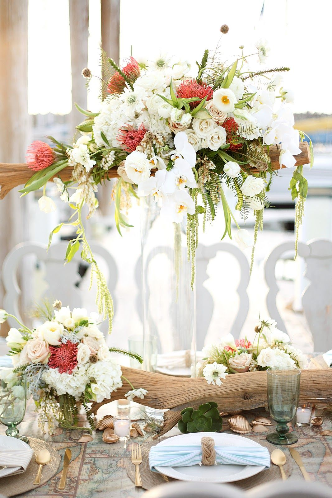 Driftwood centerpiece by Branches Event Floral Company | *Nautical ...