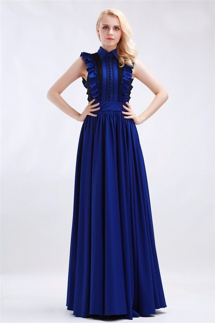 Modest High Neck Royal Blue Chiffon Ruffled Formal Evening Dress ...