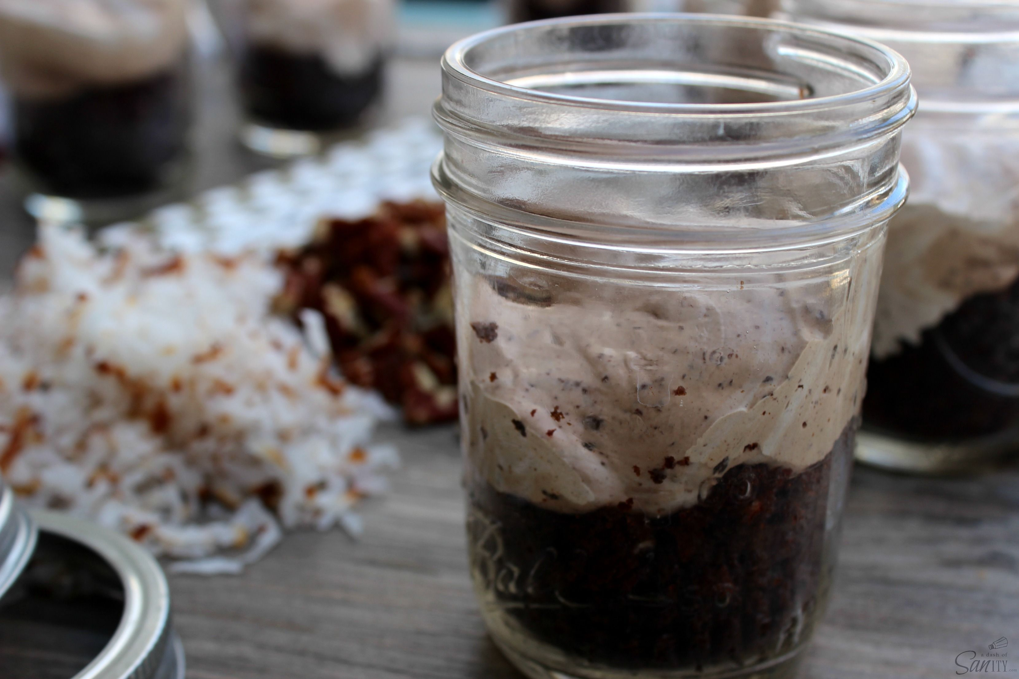 No Bake German Chocolate Cheesecake - cheesecake jar