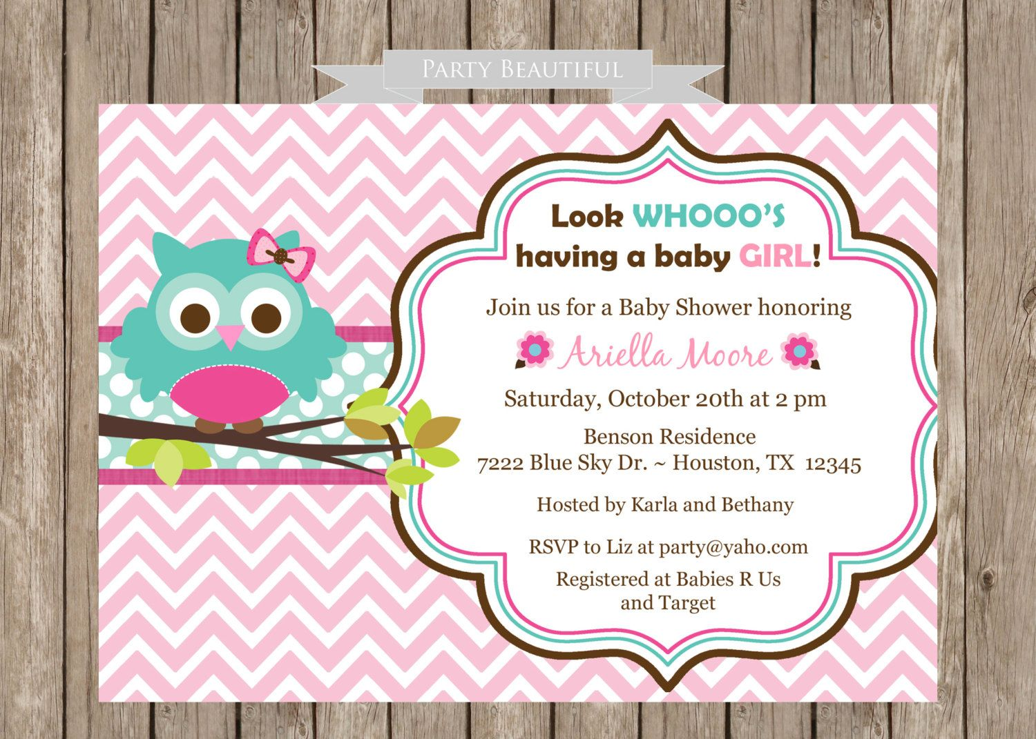 Owl Baby Shower Invitation for GirlPink Chevron by PartyBeautiful ...