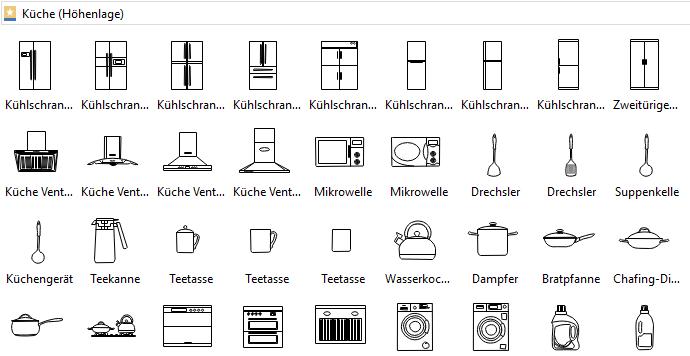 Symbole für Küchenplan Planer, Bauplan