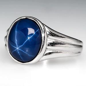 Created Star Sapphire Mens Ring 14K White Gold - EraGem
