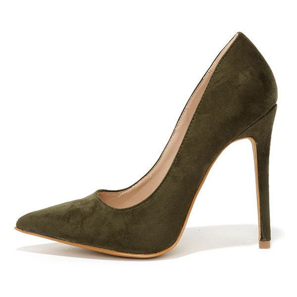 cbcb3395221f Precisely Right Olive Green Suede Pointed Pumps ( 34) ❤ liked on Polyvore  featuring shoes